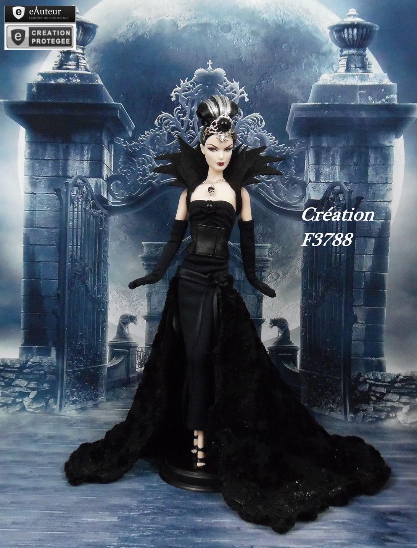 robe barbie d monia tenue gothique gothic pour poup e. Black Bedroom Furniture Sets. Home Design Ideas