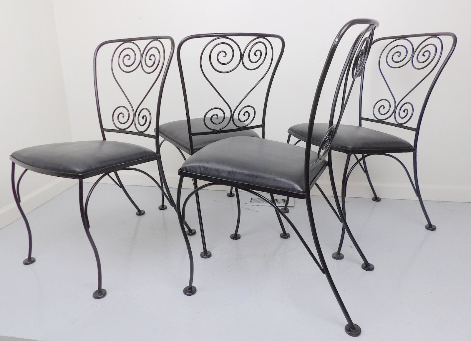Wire Dining Chairs Wrought Iron Metal Set of 4 Patio. Wrought Iron ...