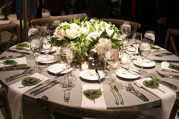 Too many flowers in the center of the table but love the soft gray linen with the beautiful leaf accent at each table setting! & Too many flowers in the center of the table but love the soft gray ...