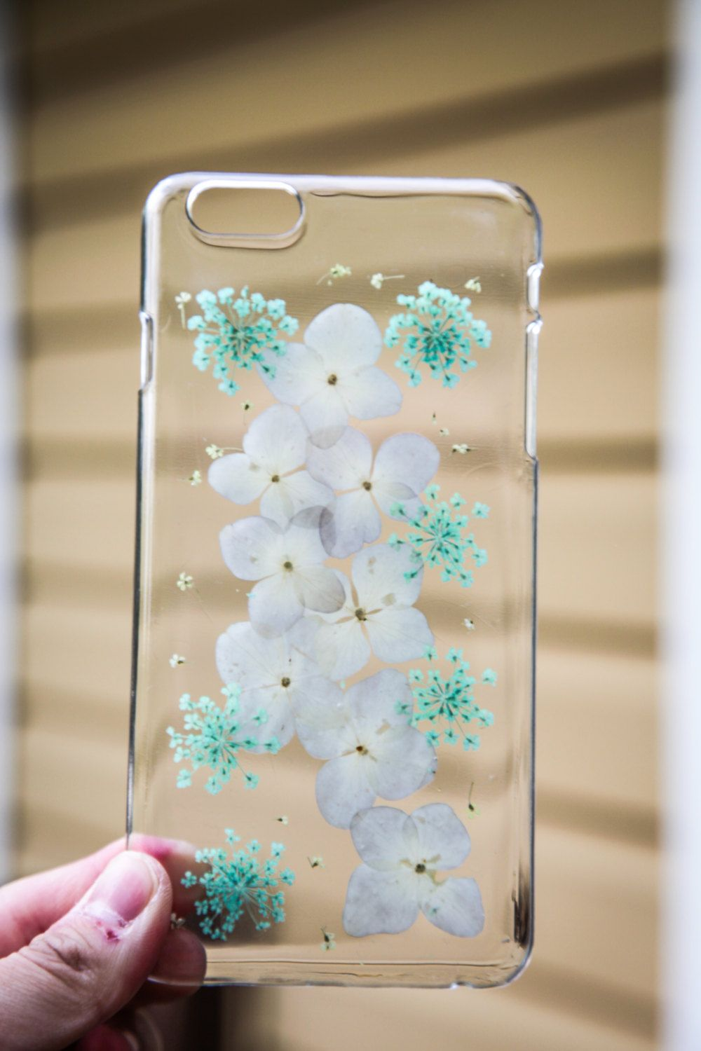 Clear case dry pressed floral real flower resin case