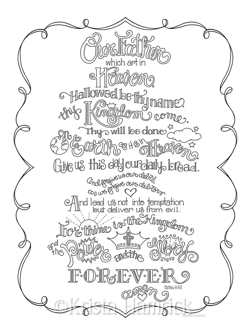 The Lord S Prayer Coloring Page In Three Sizes 8 5x11 Etsy Cross Coloring Page Bible Coloring Pages Quote Coloring Pages