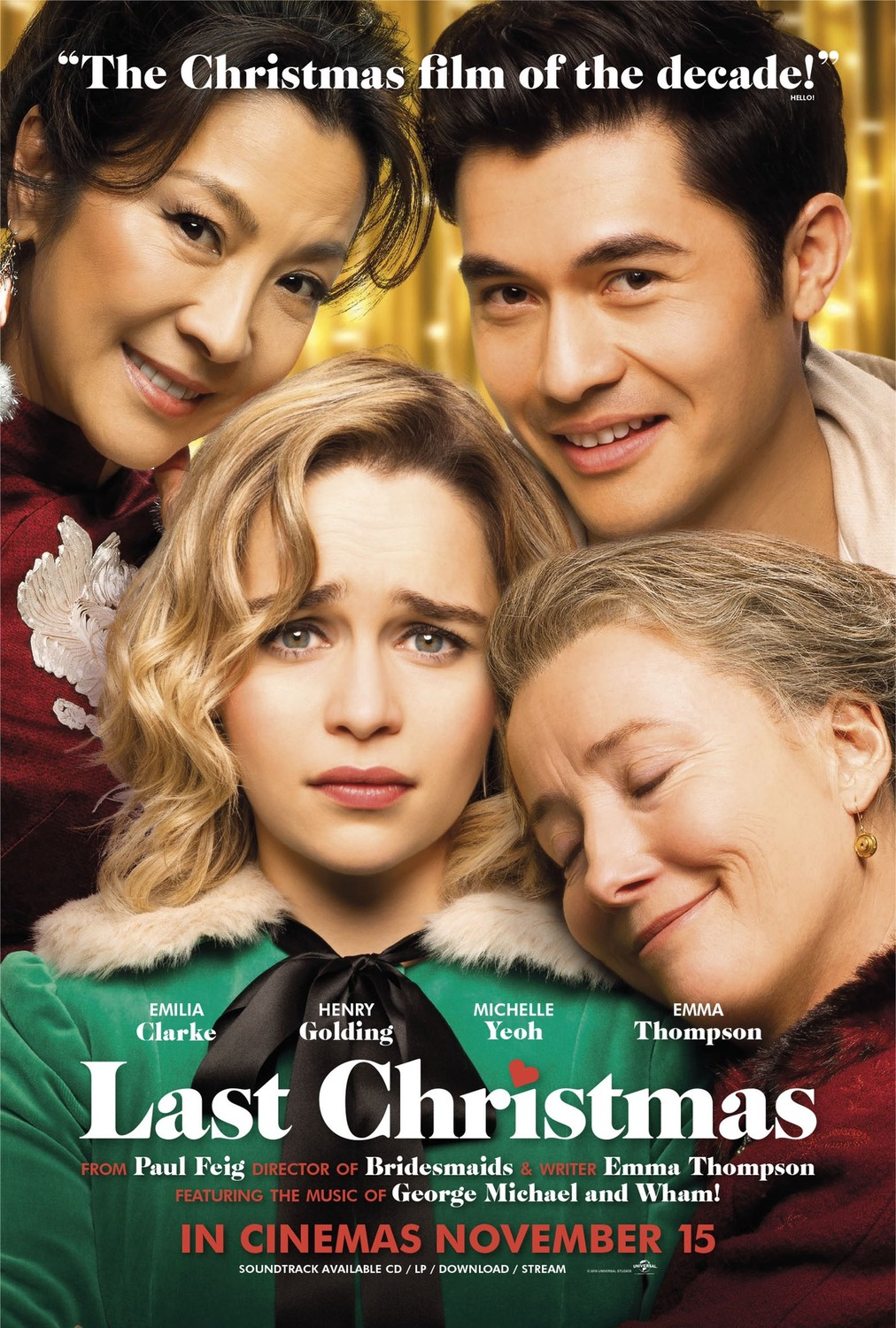 New Poster For Last Christmas 2019 A Young Woman Who Has Been Continuously Unlucky Accepts A Job As A Depart Last Christmas Movie Last Christmas New Poster
