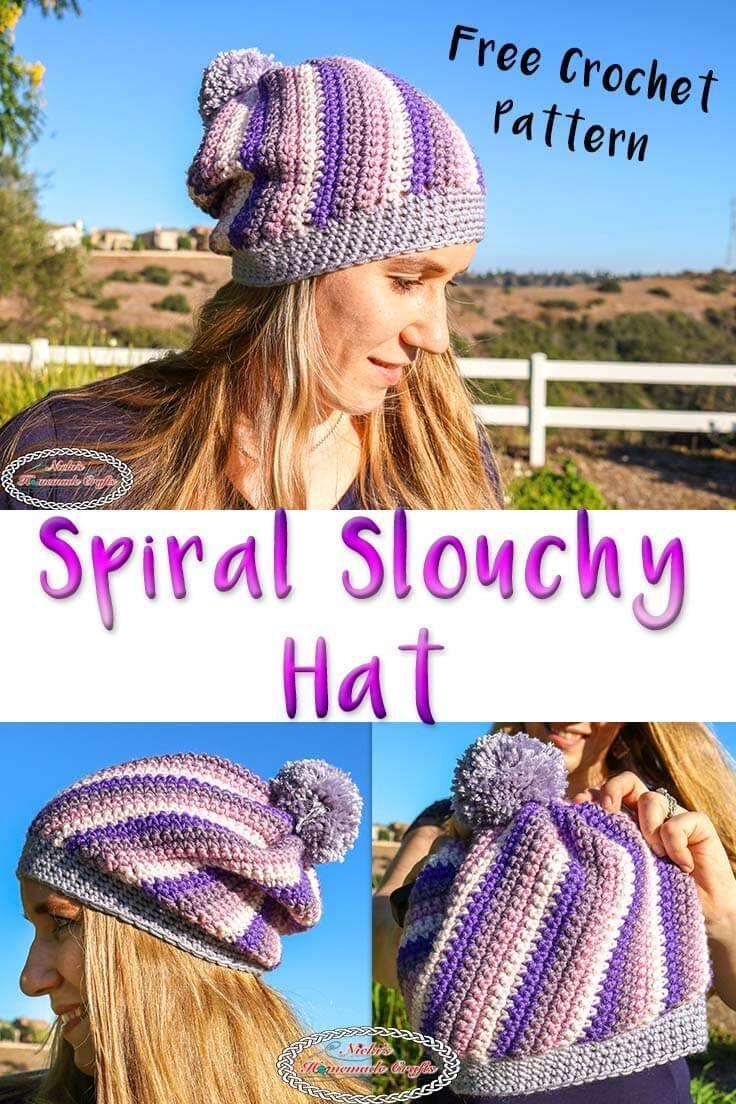 Spiral Slouchy Hat using Caron X Pantone Yarn - Free Crochet Pattern ...