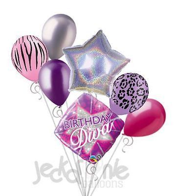 7 pc Happy Birthday Diva Balloon Bouquet Party Decoration Sparkles Purple Rose