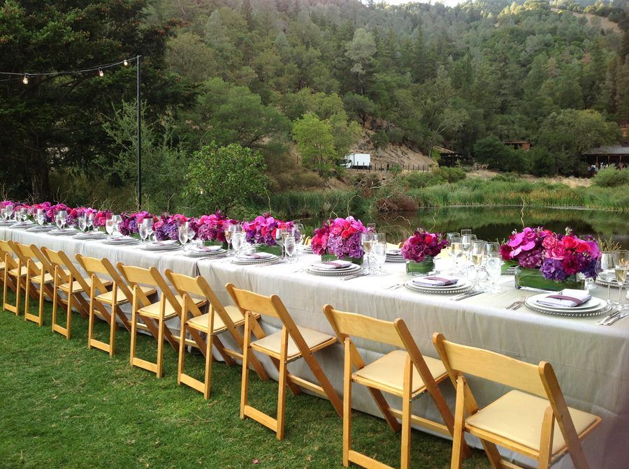 Beautiful purple, fuchsia, magenta wedding tablescape at Calistoga Ranch  www.calistogaranch.com Floral Design: Fleurs de France. www.fleursfrance.com. Fleurs de France - Sonoma, Napa Valley, Wine Country Wedding Florist & Event Design