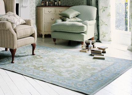 Baroque Traditional Duck Egg Cotton And Wool Rug Living