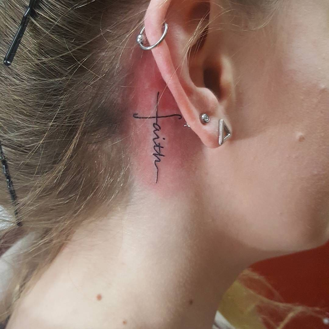 59 Likes 1 Comments Megan Paige Megan Paige Tattoos On Instagram A Little Faith Behind The Ear Tattoo Fai Small Tattoos Ear Tattoo Behind Ear Tattoos