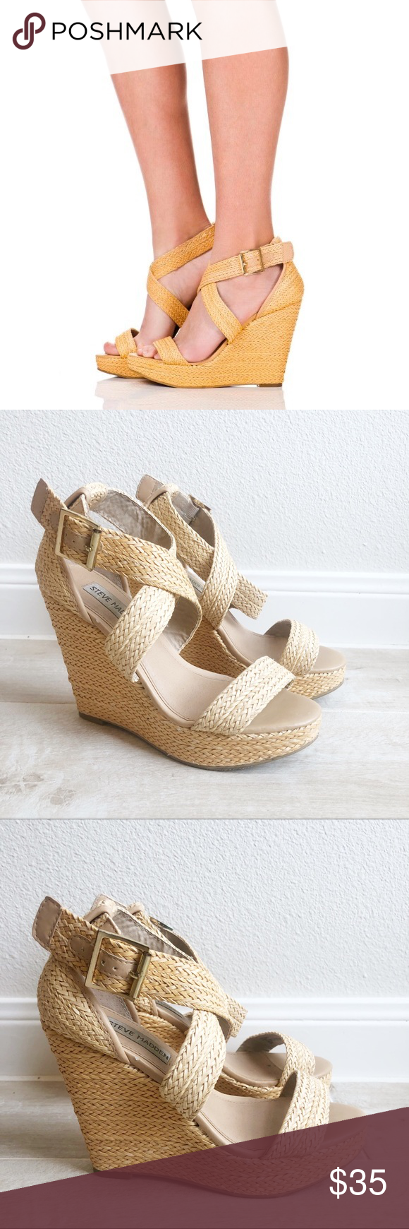 e81ca7d43ab Steve Madden Haywire Woven Wedge Sandals Distressed faux leather is woven  to create the look of