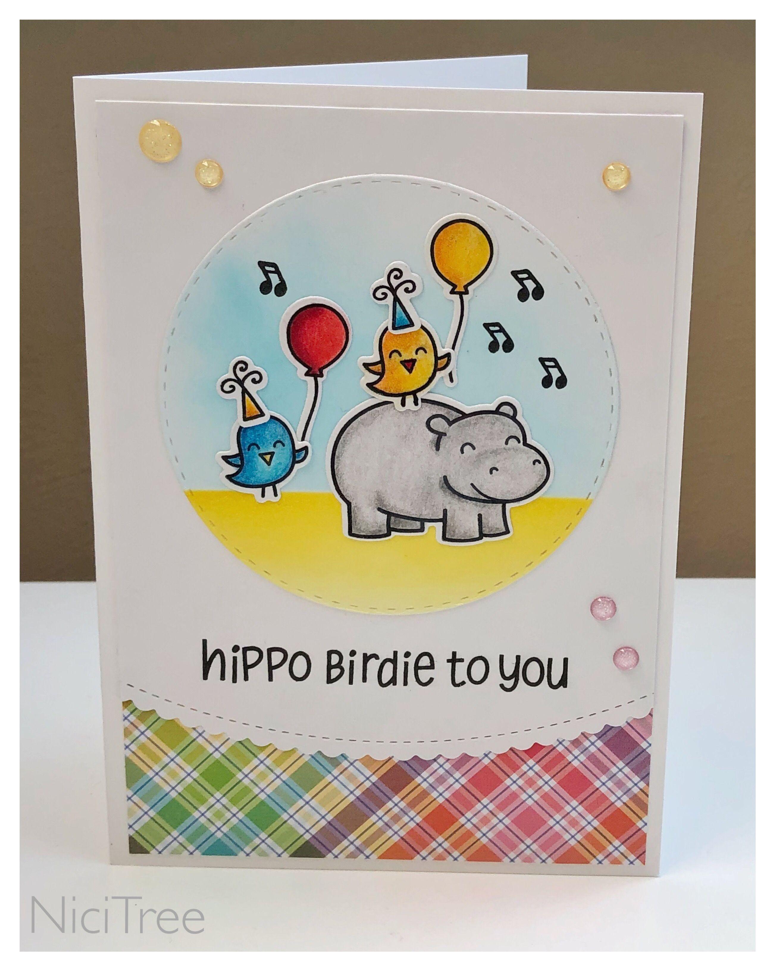 Lawn Fawn Hippo Birdie Birthday Card Geburtstagskarte Kindergeburtstag Mft Stitched Scallop Border Lawn Fawn Lawn Fawn Cards Birthday Cards