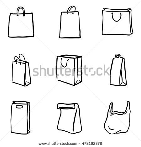 Vector Set Of Black Doodle Shopping Bags Icons With Images