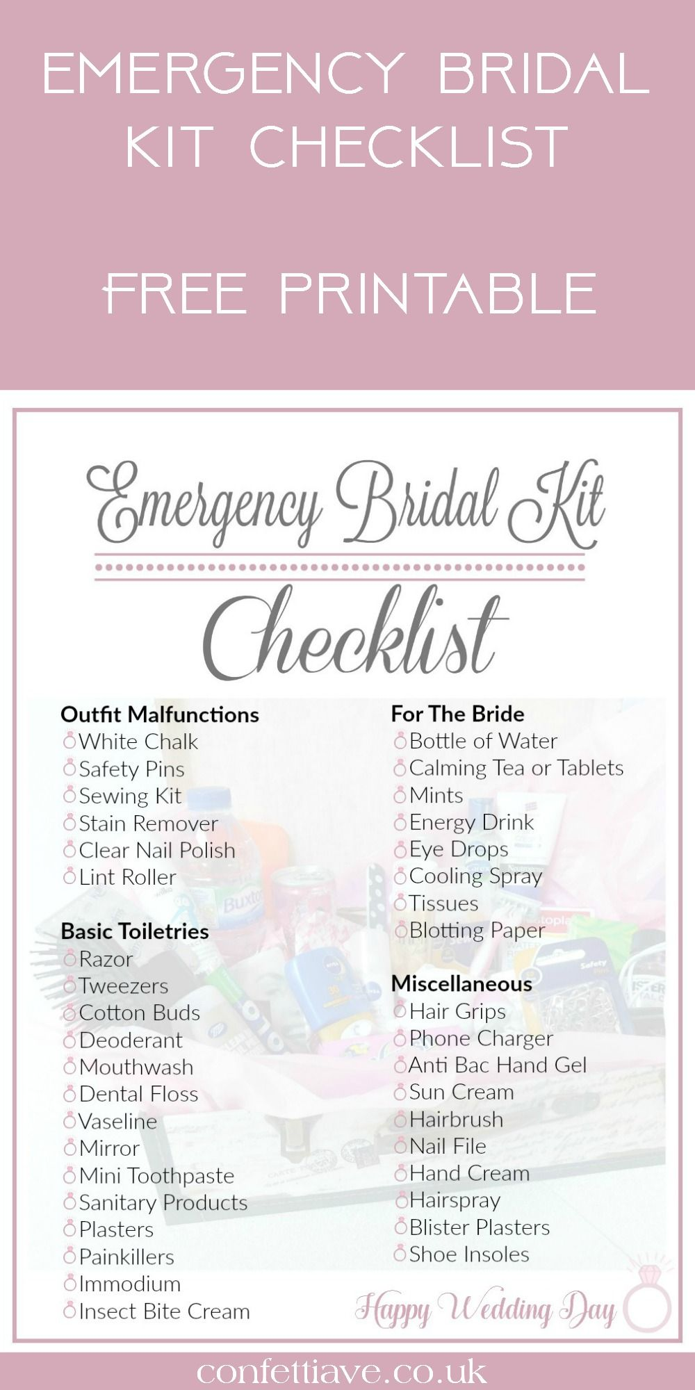 Emergency Bridal Kit Checklist Wedding Tools Http Confettiave Co Uk