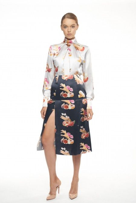 White Floral Patterned Silk Blouse Silk blouse FLOW COLLECTION