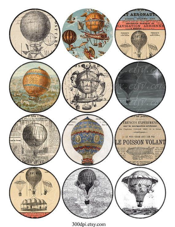 Heißluftballone - Vintage druckbare Tags Digital Collage Sheet 2.5 ...