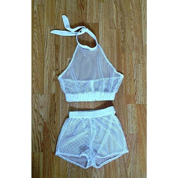 1b400fabf3 Black and White Shorts See Through Outfit Two Piece Set Mesh Top Crop Tops