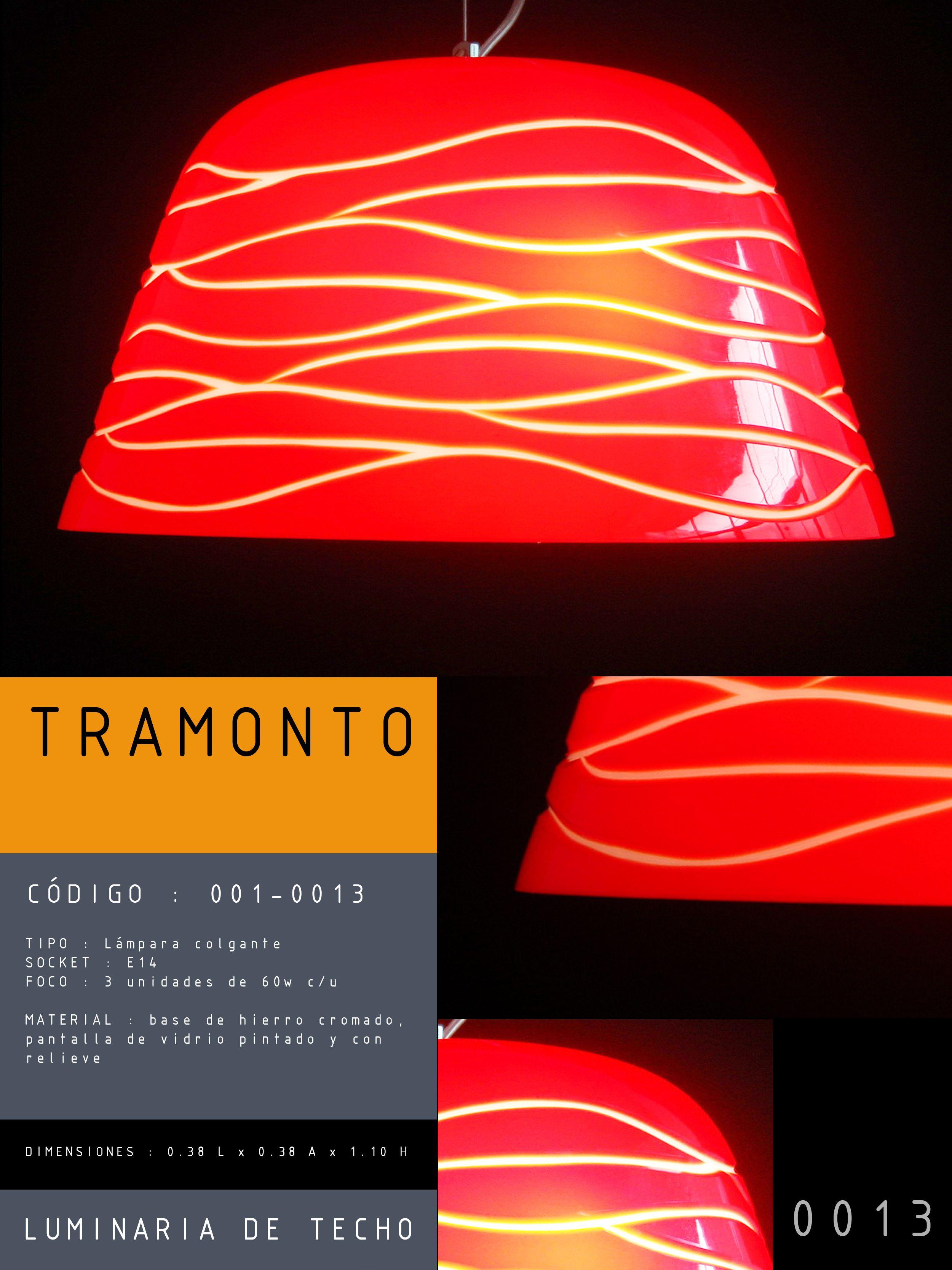 Luminaria de techo modelo TRAMONTO CÓDIGO : 001-0012 TIPO : Lámpara colgante SOCKET : E27  FOCO : 1 unidad de 60w c/u MATERIAL : Vidrio DIMENSIONES : 0.22 L x 0.22 A x 1.10 H