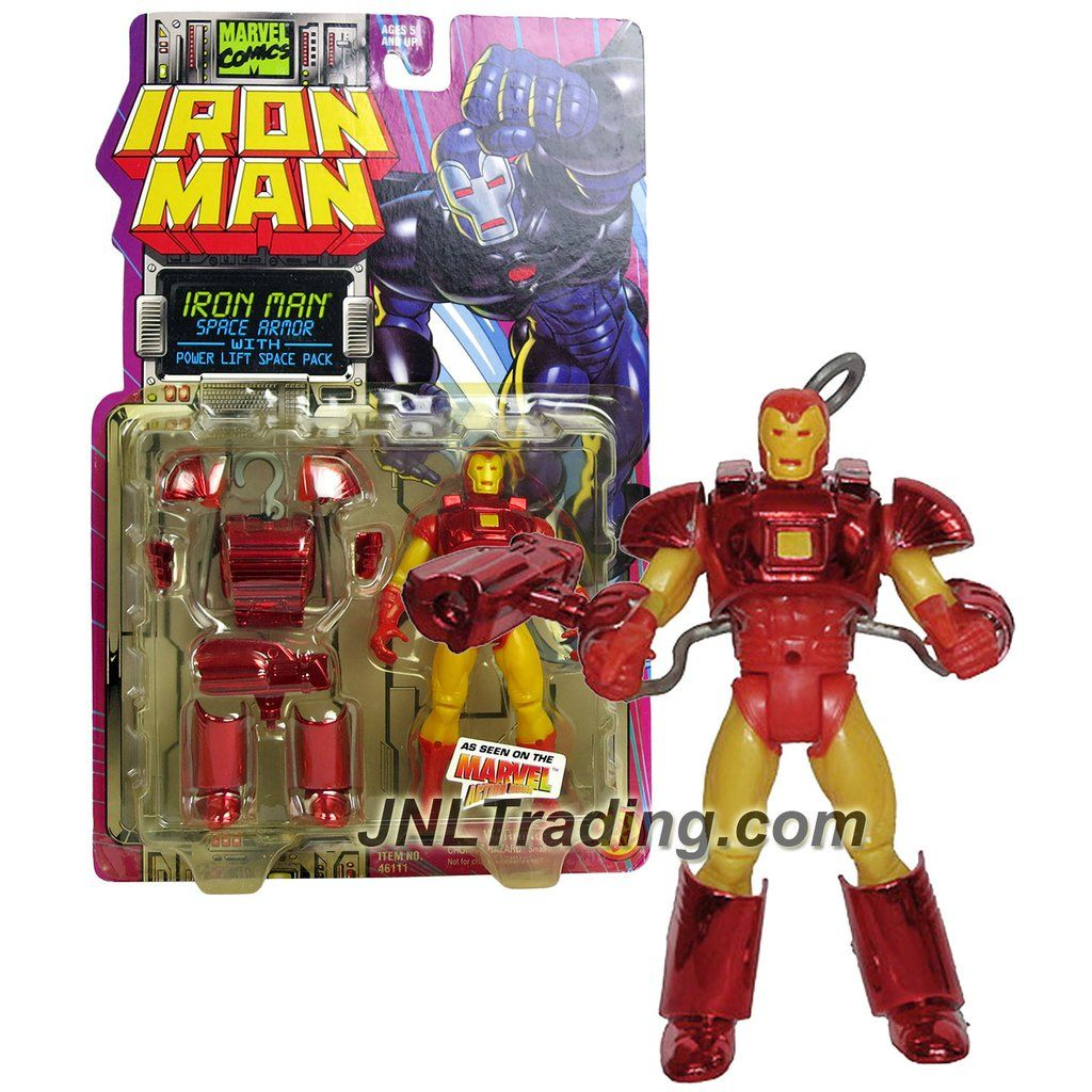 Year 1995 Marvel Comics Iron Man Series 5 Inch Tall Action Figure Space Armor Iron Man With Power Lift Space Pack And Missile Launcher Iron Man Series Marvel Iron Man
