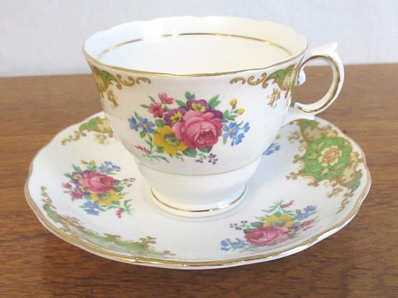 fa94ddd3466 Vintage Colclough Tea Cup and Saucer # 6739, C. 1940s, Made in England
