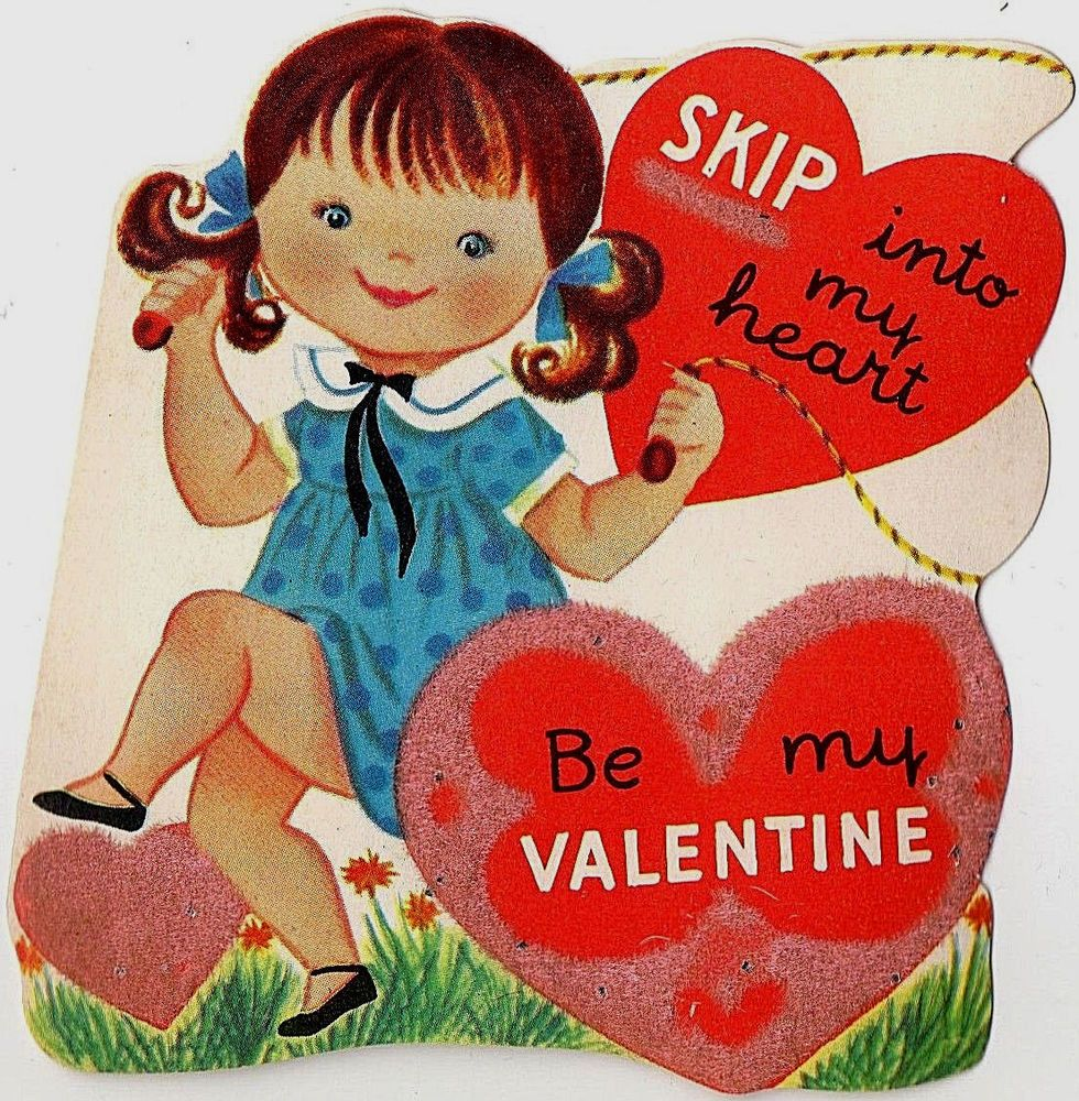 Vintge Valentine Greeting Card Girl Jumps Jumping Rope Skip Into My