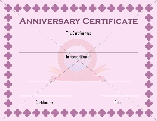 Anniversary certificate template anniversary certificate templates anniversary certificate template yelopaper Choice Image