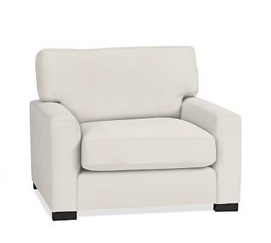 Turner Square Arm Upholstered Armchair without Nailheads, Down Blend Wrapped Cushions, Denim Warm White