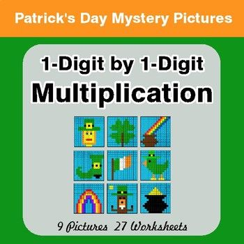 St Patrick\'s Day: 1-Digit Multiplication - Color-By-Number Mystery ...