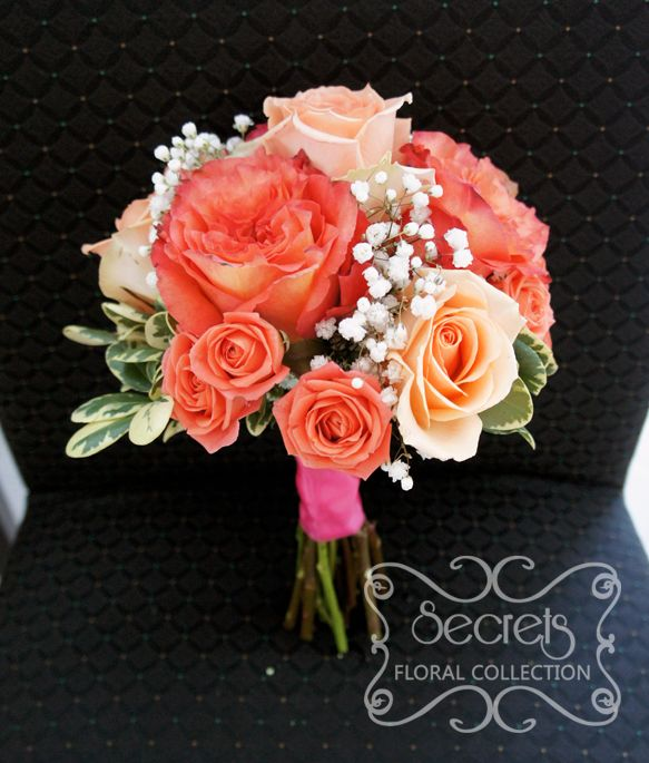 baby's breath and peach bouquet    peach standard roses and