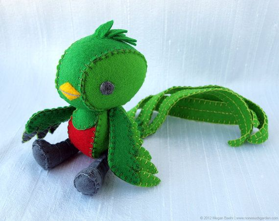 Amigurumi Quetzal : Quetzal plush art doll tototl made to order by nonesuchgarden