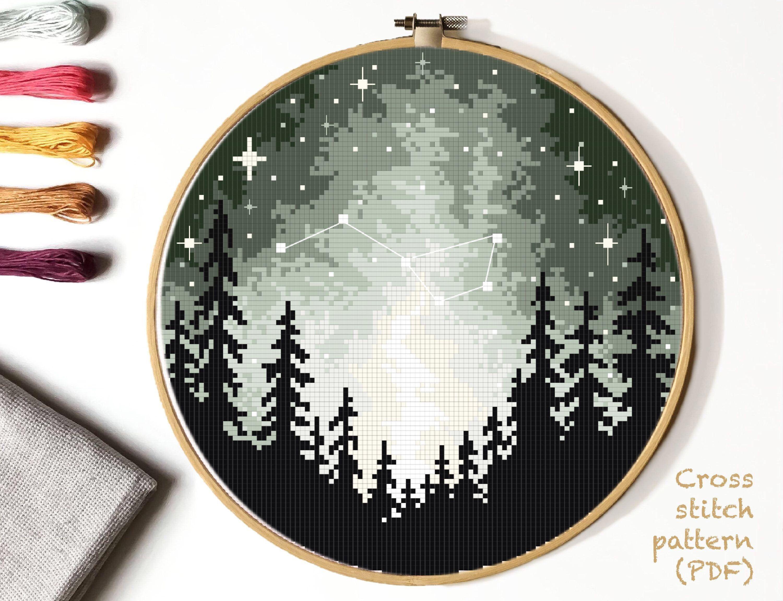 Photo of Landscape Modern Cross Stitch Pattern, forest counted cross stitch chart, starry sky cross stitch,  hoop art, embroidery, instant PDF