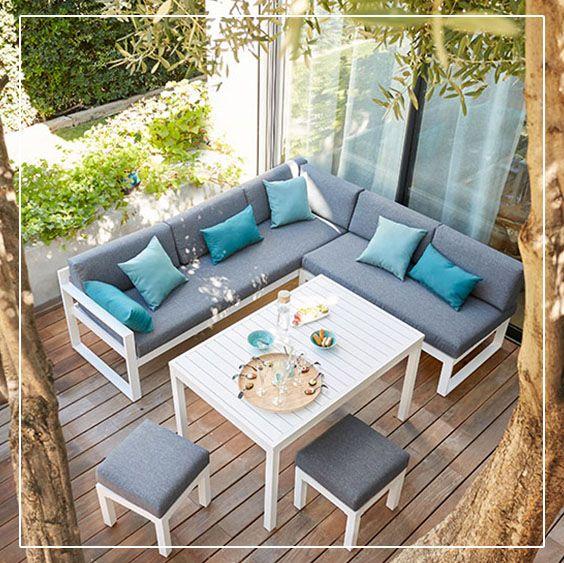 canap de jardin batang 2 places en aluminium terrasses balcons salon de jardin palettes