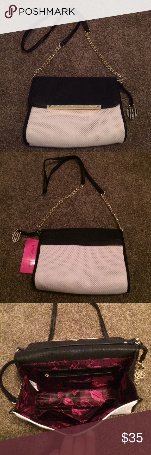 NWT Betsy Johnson Purse! Brand new!! Plastic still on name plate! Perfect size has 2 inside pockets and an inside zipper pocket. Back has an open pocket. Wear cross body or over the shoulder! Betsey Johnson Bags Crossbody Bags