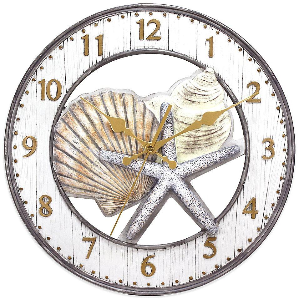 shell wall clock in grey in 2020 coastal wall decor on wall clocks id=16645