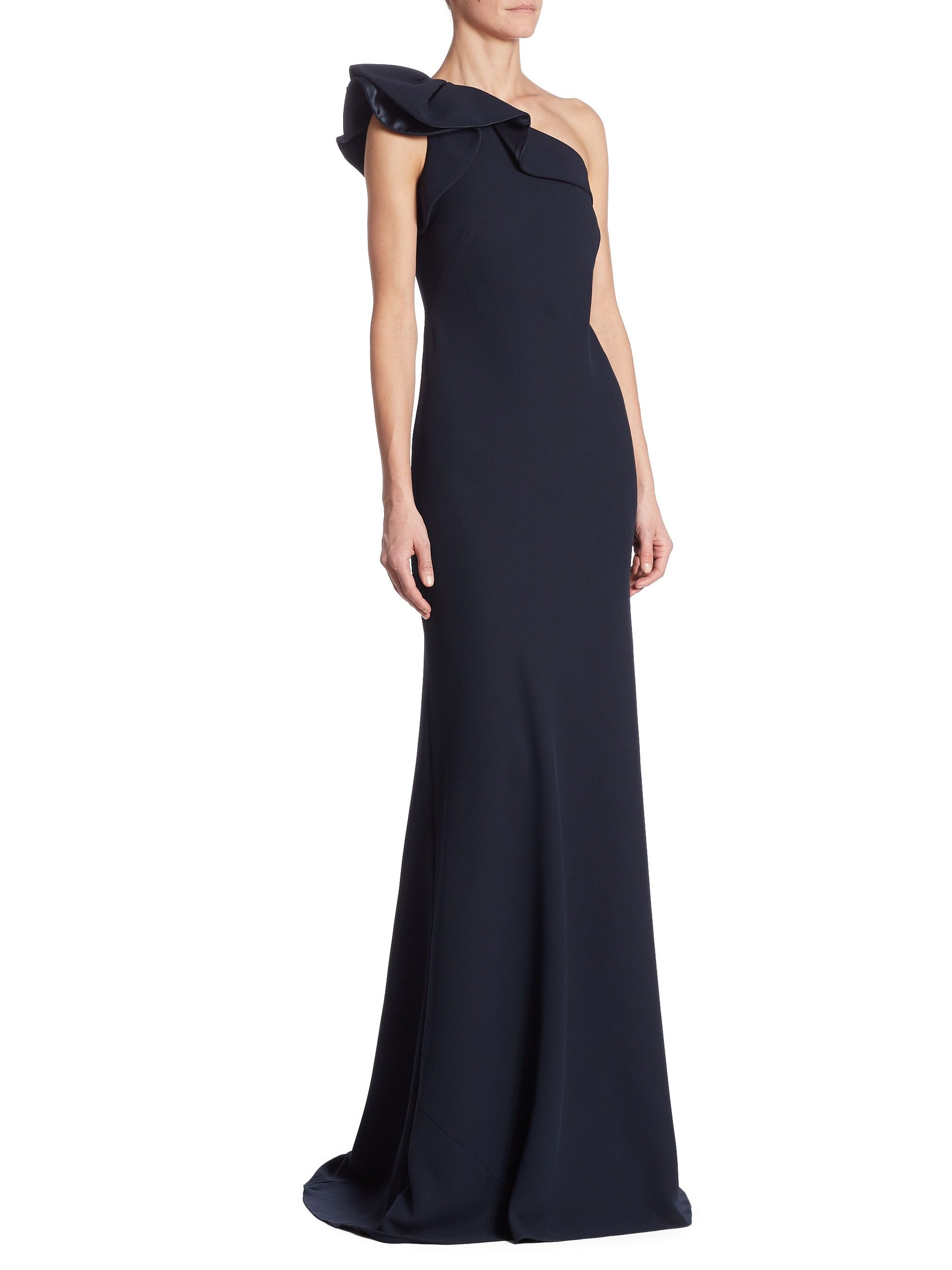 CARMEN MARC VALVO ONE-SHOULDER CREPE RUFFLED GOWN. #carmenmarcvalvo ...