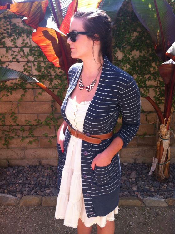 Striped sweater+mellow yellow sundress with nude accessories