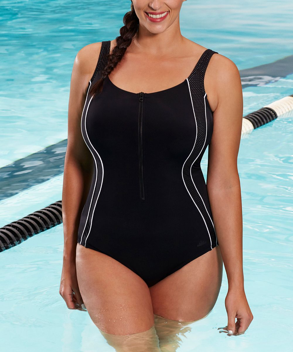 114fee653291b Black Chlorine-Resistant Zip-Front One-Piece - Plus Too   Products ...