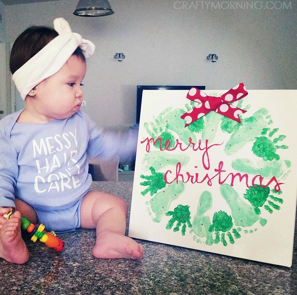 Delightful Baby Craft Ideas For Christmas Part - 8: Handprint/Footprint Christmas Wreath Craft - Crafty Morning