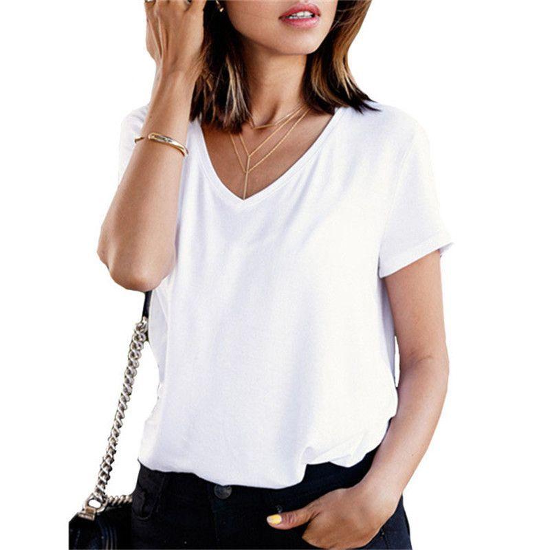 aaac462f9de4 Tops Women Summer Cotton Top Plain V Neck Short Sleeve Casual T-shirt