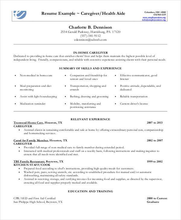 Caregiver Resume Example 7 Free Word Pdf Documents Download Resume Examples Teacher Resume Examples Caregiver Skills