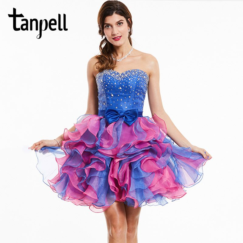 Click to Buy << Tanpell strapless cocktail dress royal blue ...