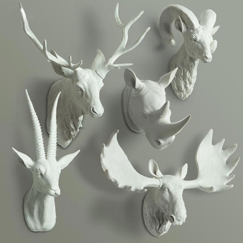 animal head wall decor Animal Head Bust Wall Decor   Deer, Buck, Rhino, Antelope Bust  animal head wall decor