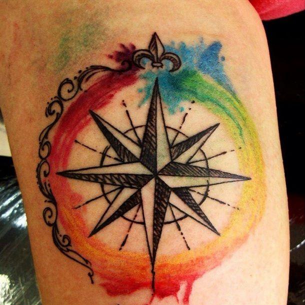 Compass Bússola em aquarela em Rio Preto Ink Tattoo