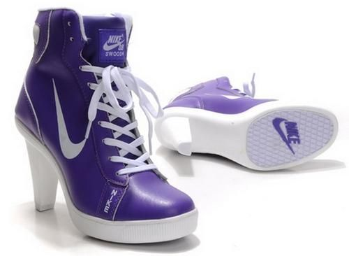 Purple White Nike Swoosh Dunk High Heels  c53826fe8