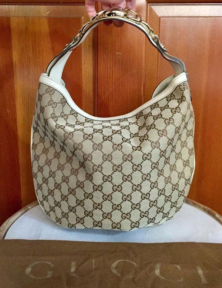 d67ddfad99a6 Gucci Guccissima GG Monogram Horse Bit Handbag Tan Ivory Canvas Leather  Shoulder #Guccihandbags