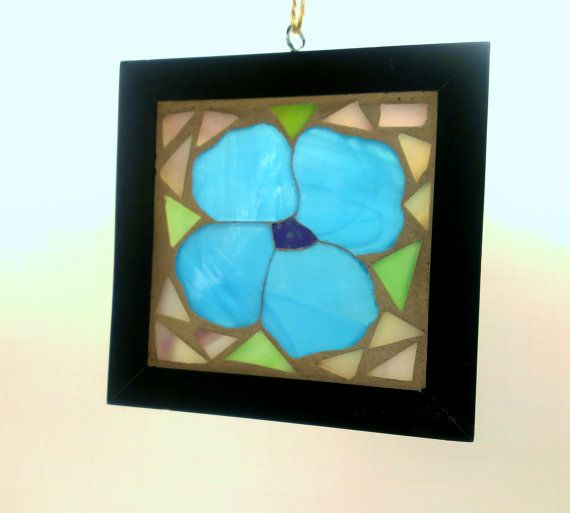 Stained Glass Blue Flower GOG Mosaic Sun Catcher by JBsGlassHouse