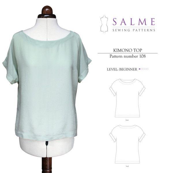 Digital Sewing Pattern - Kimono Top | Nähen, Stricken und Häkeln