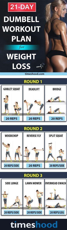 Wie man 10 Pfund in 3 Wochen verliert? Übungs-Hantel-Trainingsplan für schnell... - Fitness #dumbbellexercises