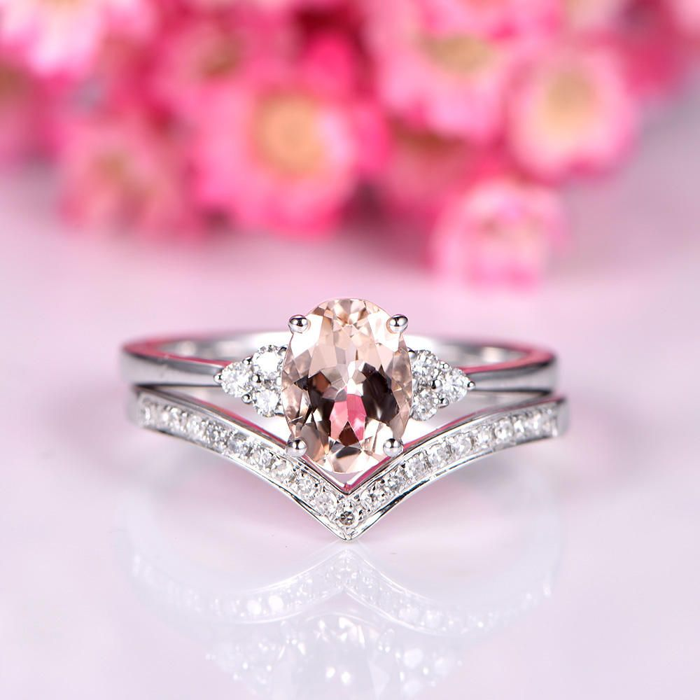 Morganite ring set Morganite engagement ring 5x7mm oval cut pink ...