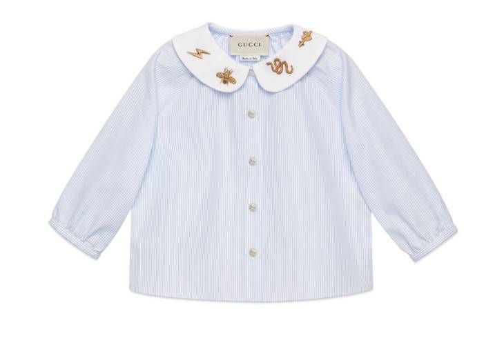 2e0794a25ad Shop the Baby embroidered cotton poplin shirt by Gucci. null