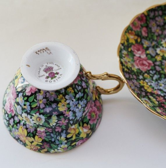 Vintage Chintz Cup & Saucer Rosina China by TJsVintageTreasures