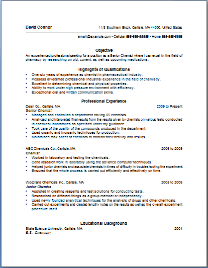 Bullet Point Resume Template Of The Most Important Tips For Writing Chemist Resume Are As Foll Resume Format Good Resume Examples Cover Letter For Resume