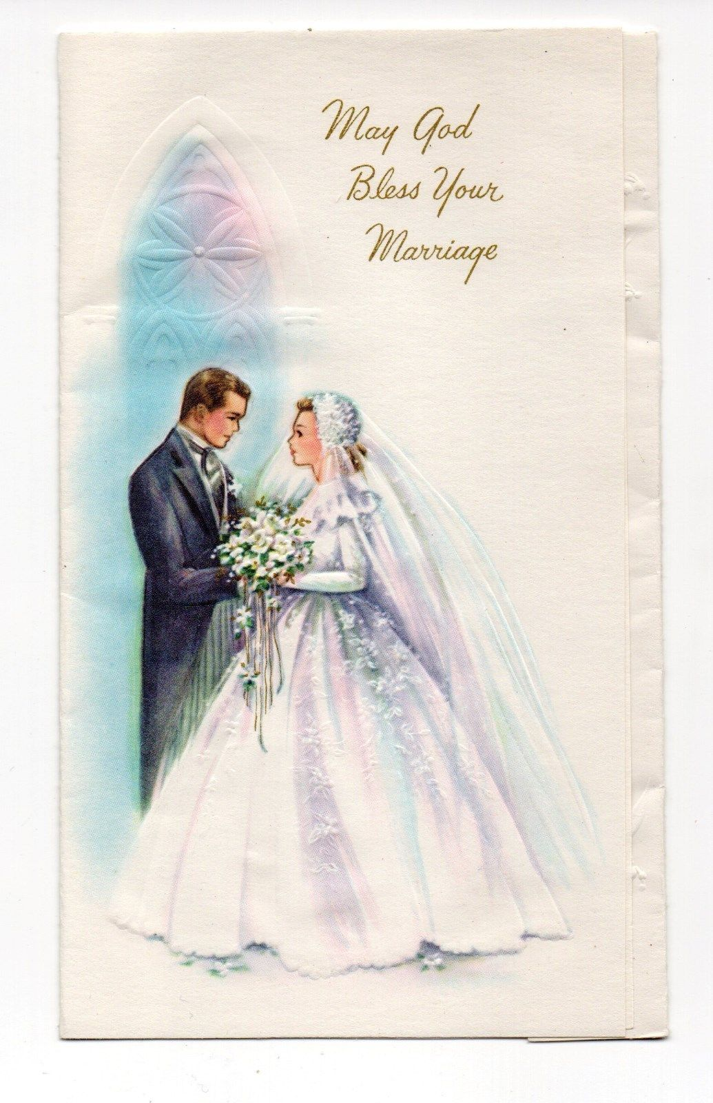 Vintage Cute Bride /& Groom Personalised Wedding Blessing Greetings Card